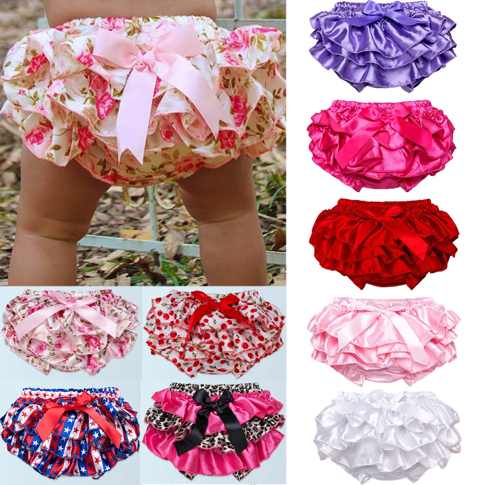 Newborn Baby Girls Boys Floral Shorts Nappy Cover Ruffle PP Panties Bloomers