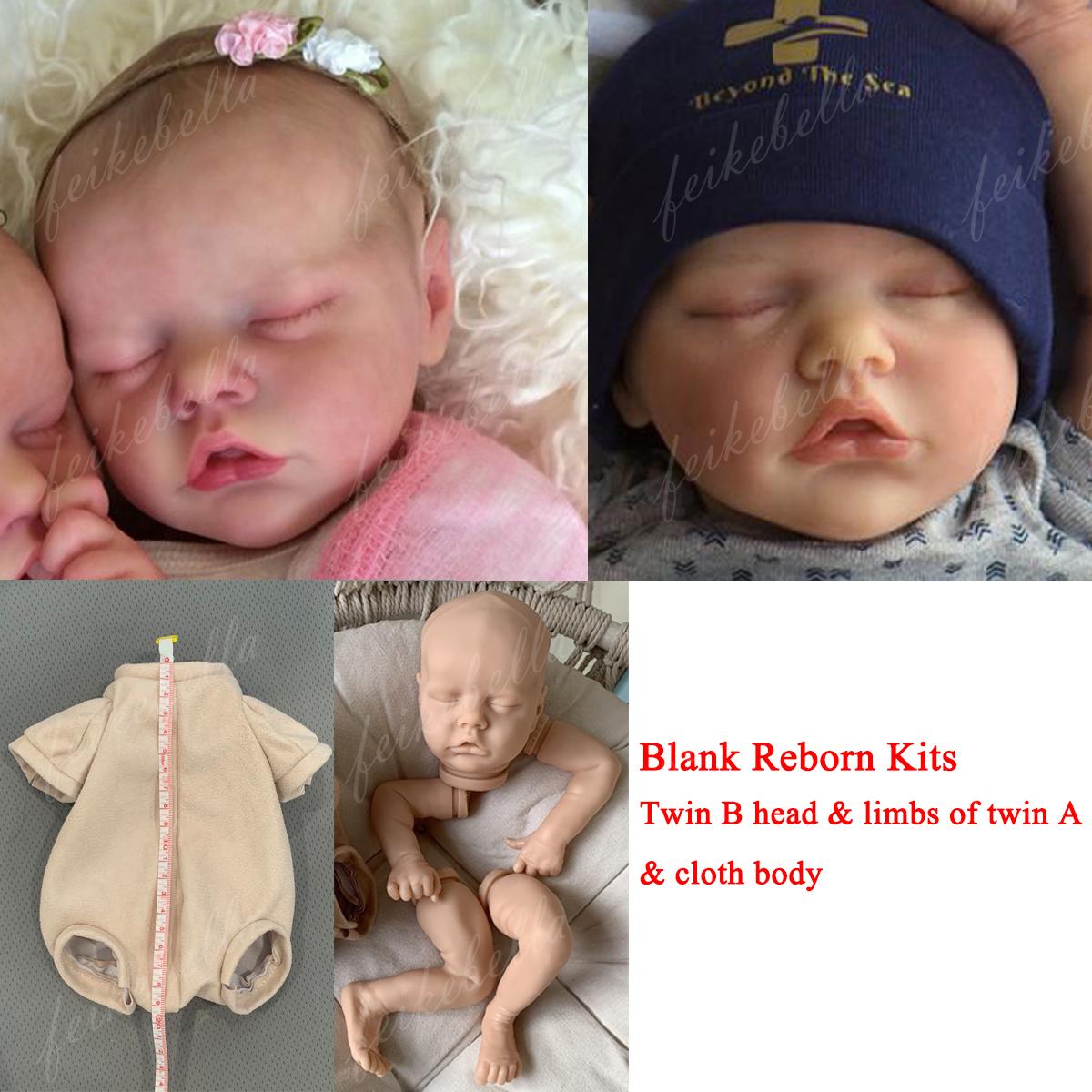 Cloth Body Blank 17/'/' Reborn Premie Doll Kits Sleeping Twin B Vinyl Doll Kit