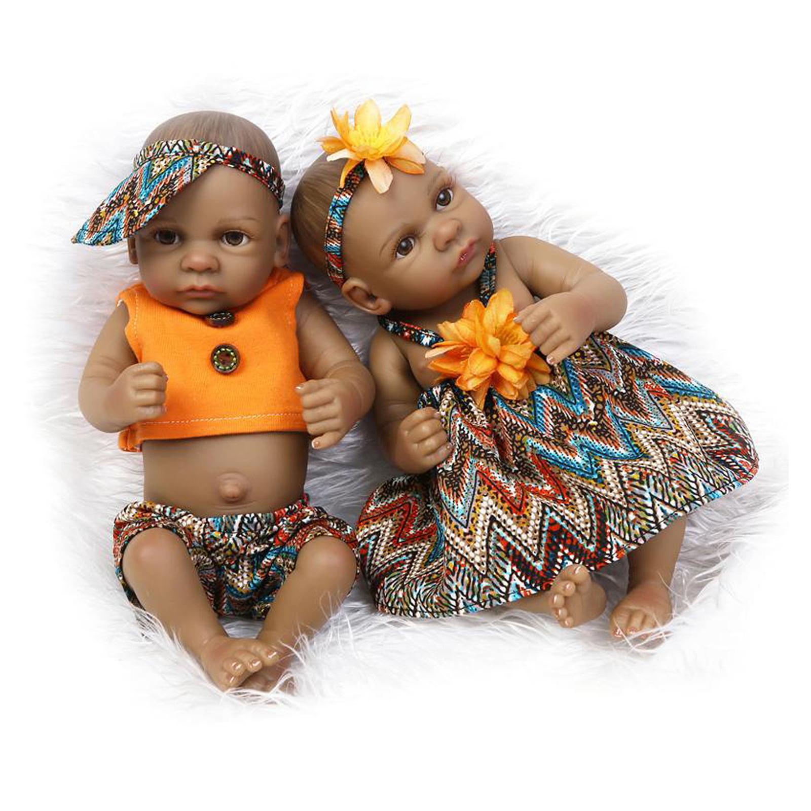 African american reborn baby boy girl dolls vinyl newborn lifelike twins preemie