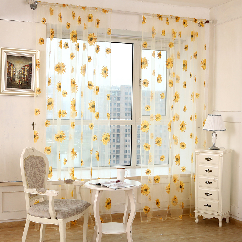 chrysanthemum muster transparent voile vorhang fenster. Black Bedroom Furniture Sets. Home Design Ideas