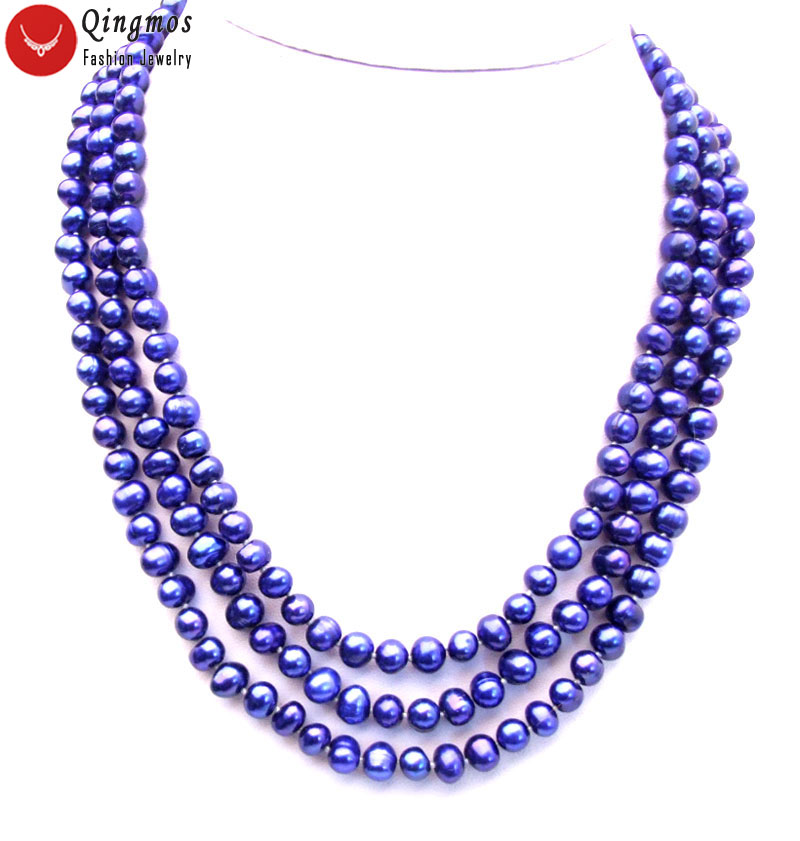 Natural 7-8mm Round Dark Blue Pearl Necklace for Women