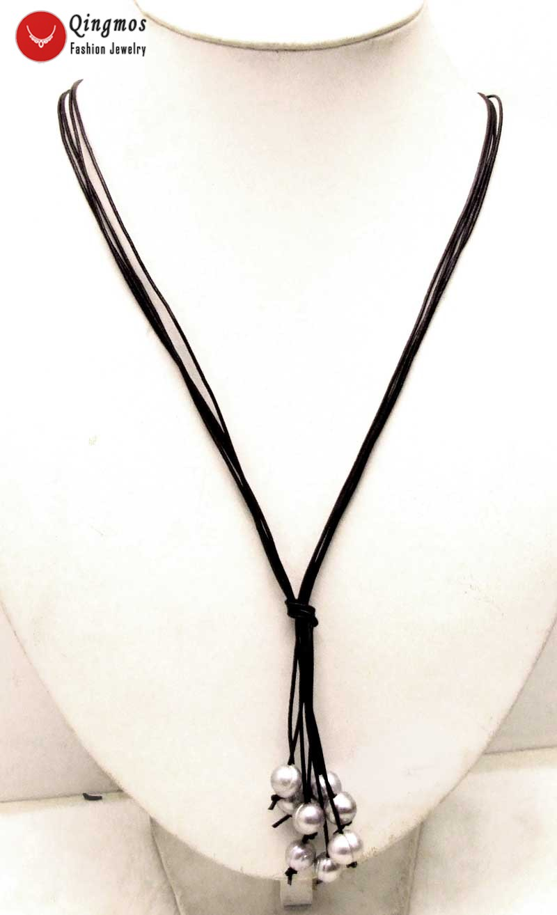 """10-11mm Black Rice Natural Pearl Necklace /& Leather 4 strands 32/"""" Long Necklace"""