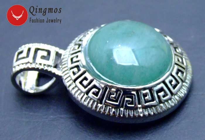 25mm Round Gemstone Pendant for Women with 17mm Green Natural Round Jade pen243