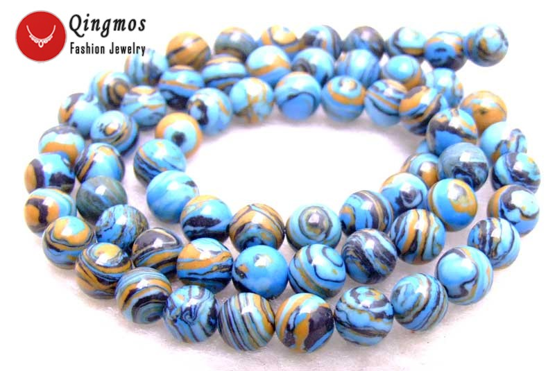15 Strand 8mm 1 Blue Striped Agate Round Gemstone Beads Jewelry Making Beads
