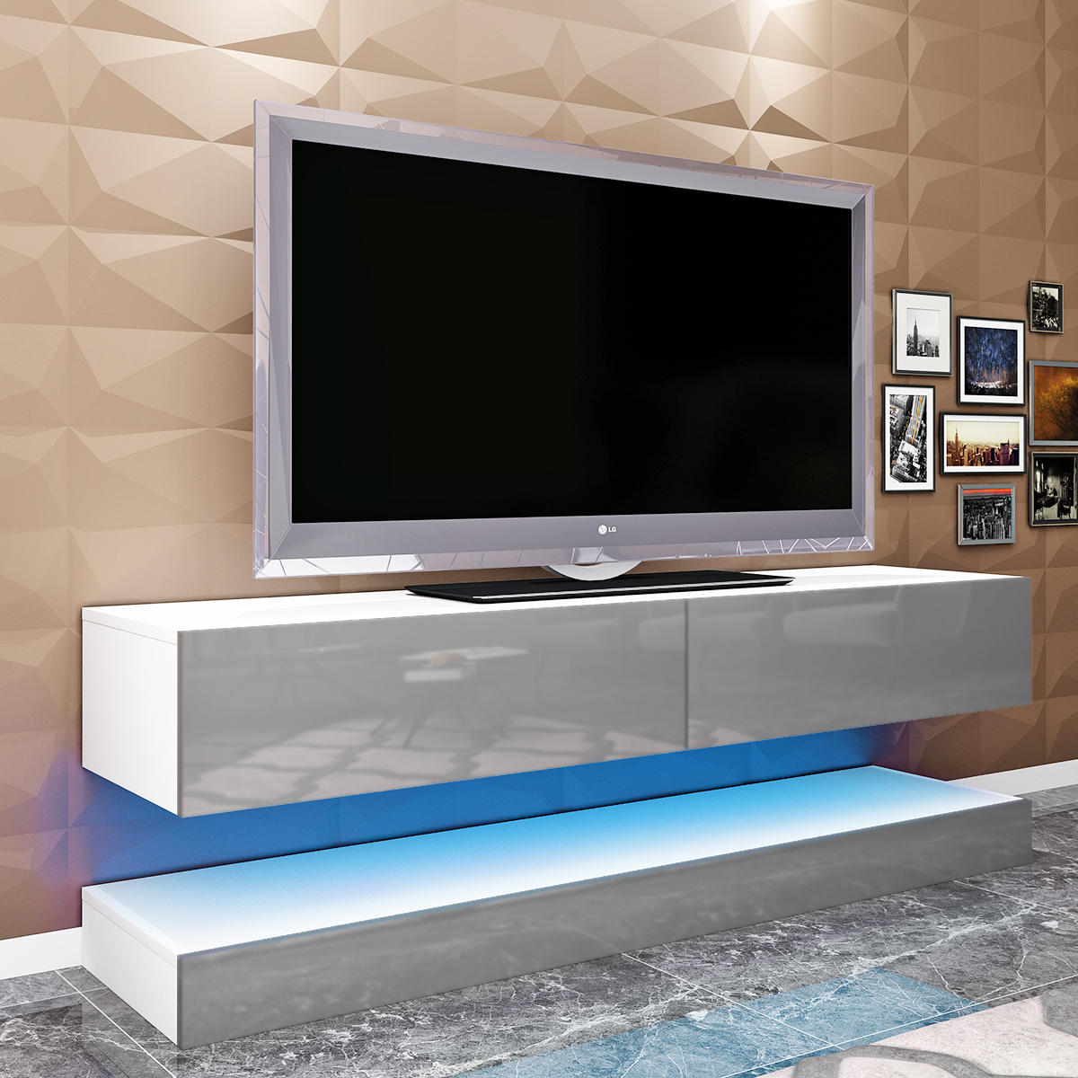 New led tv stand tv wall unit floating 140cm cabinet hanging with light