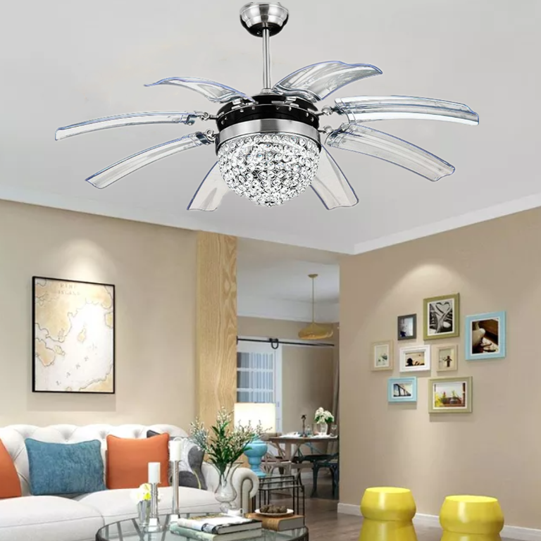 8 Take Off Invisible Blades Ceiling Fans Crystal Chandelier W Led Light Remote Ebay
