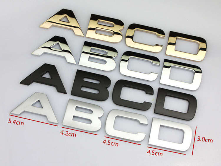 """Car Emblem Letter Number 1.6/"""" Metal 3 Colors Auto Motorcycle Sticker Decal Badge"""