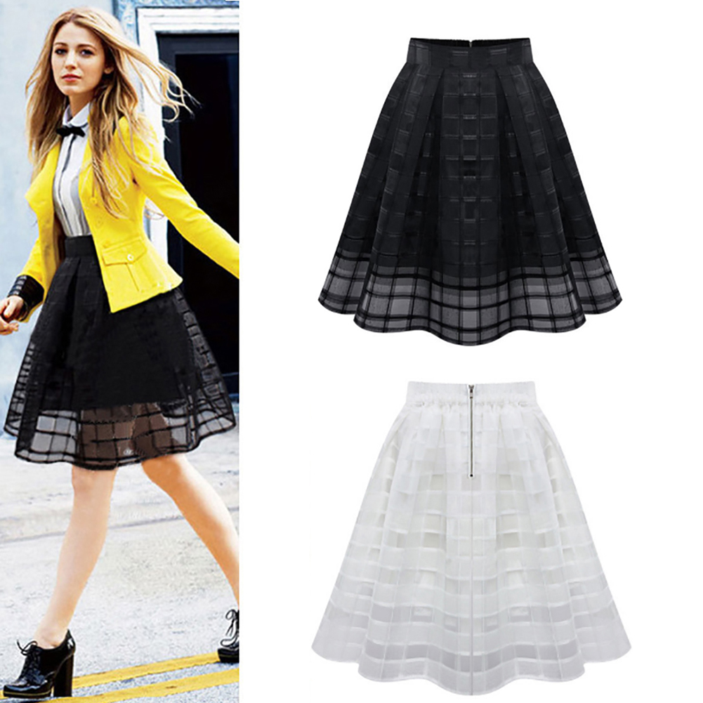 c04562fc7a17 Details about New Women Flared Knee Length Skater Skirt Fluffy Pleated  Short Skirt Dress Mesh