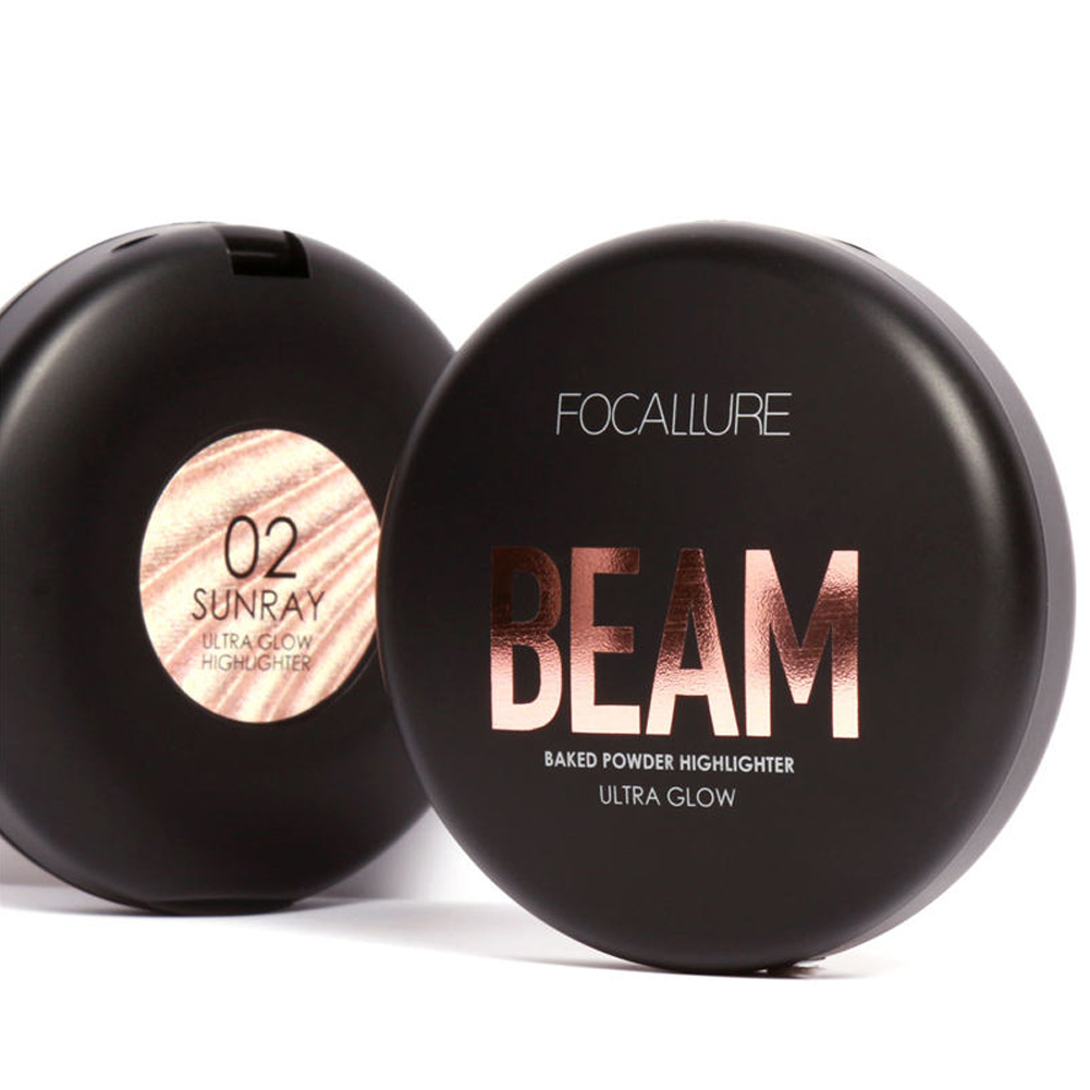 FOCALLURE 4 Colors Glow Beam Highlighter Palette Powder Makeup Beauty Contour