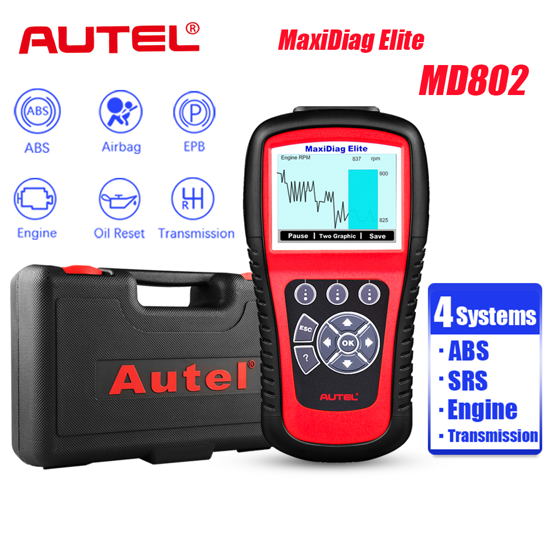 Autel Elite MD802 OBD2 Diagnostic ABS SRS Engine Transmission Scanners 4 System