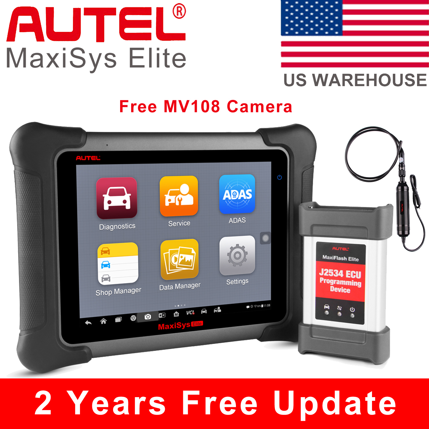 Autel MaxiSys Elite Auto Diagnostic Tool J2534 ECU Reprogram