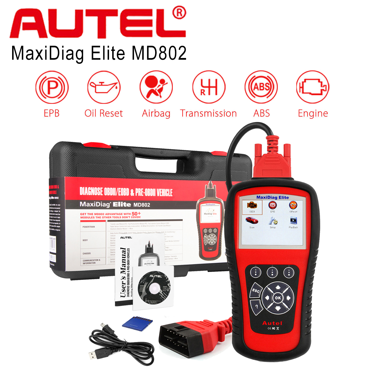 EPB SRS Transmission Autel Maxidiag Elite MD802 Full System Scanner OBD2 Diagnoses for ABS Engine Oil Reset