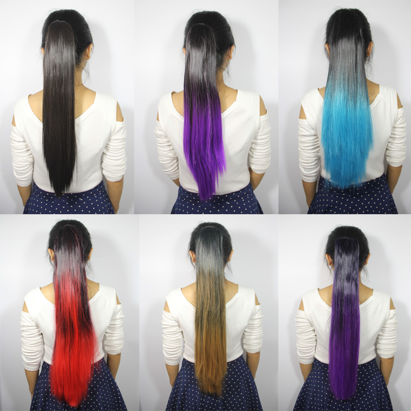 22 24 Fashion Ombre Dip Dye Synthetic Hair Claw Clip In Ponytail