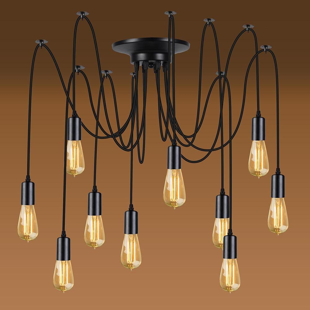 Details about vintage style ceiling light spider lamp modern indoor industrial pendant fitting