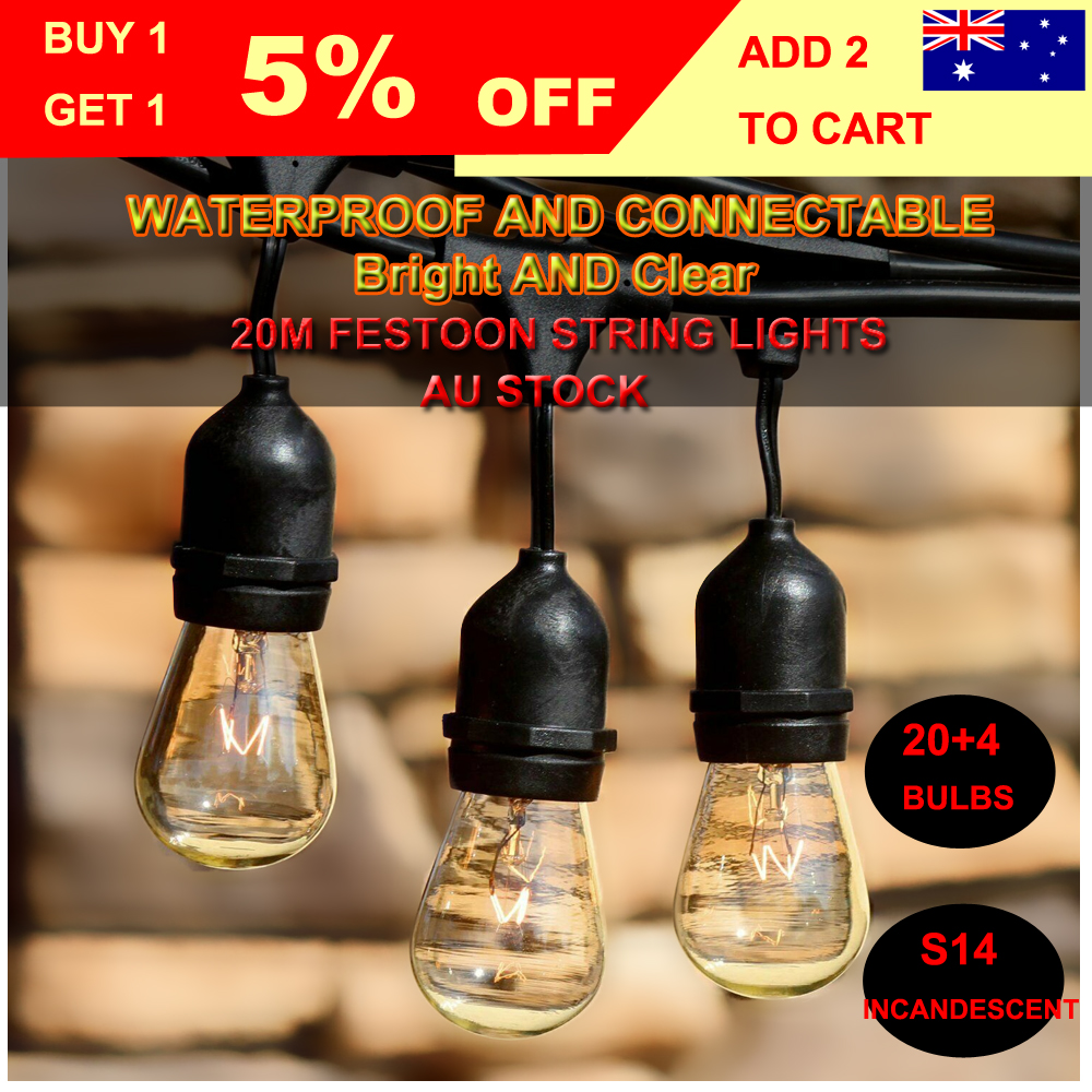 20M Outdoor Connectable Waterproof Festoon String Lights 2W LED//11W Incandescent