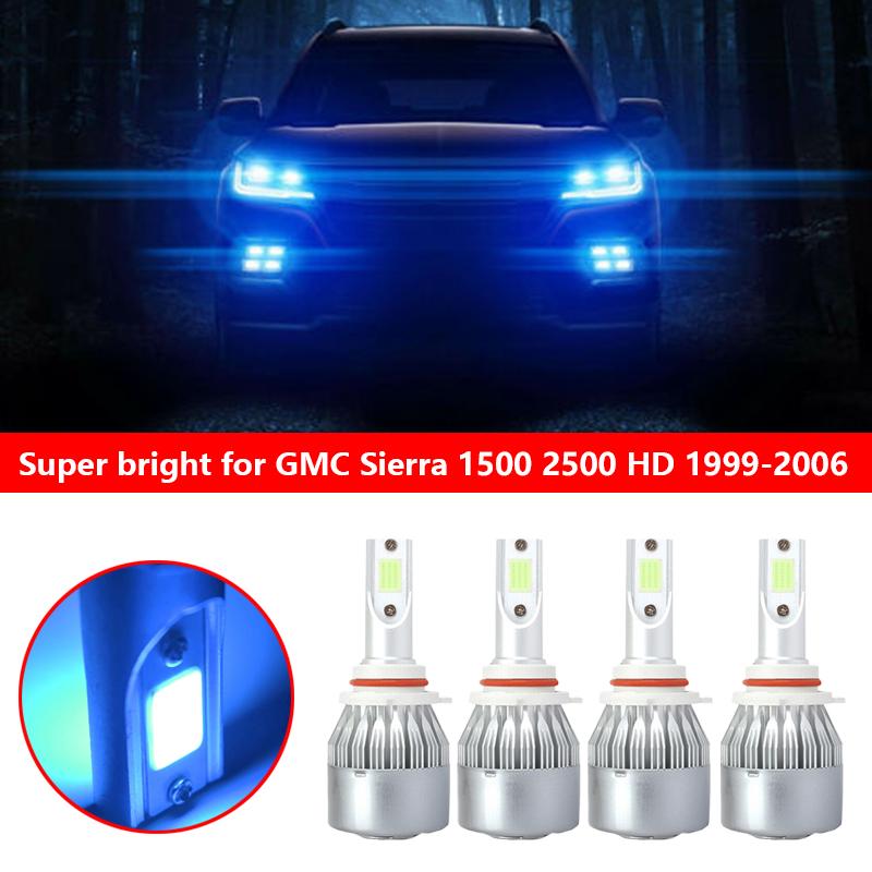 4x 9005 9006 Combo LED Headlight Kit for 1999-2006 Chevy Silverado1500 2500 HD