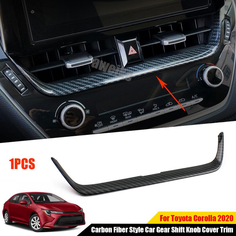 Carbon fiber style Central trim storage box cover trim For Toyota Corolla 19 20