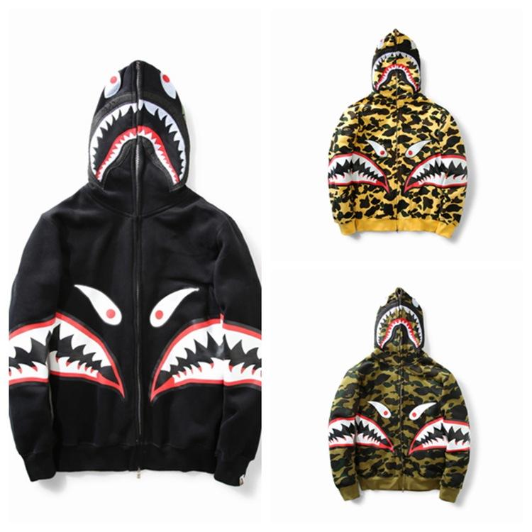 dc8752e5d92f Details about Mens A Bathing Ape BAPE Hoodie Shark Teeth Full Zipper Casual  Sports Jacket Coat
