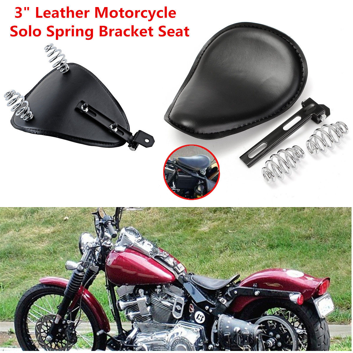 Brown Motorcycle Solo Seat Spring For Yamaha V Star 1300 1100 950 650 250 Bobber