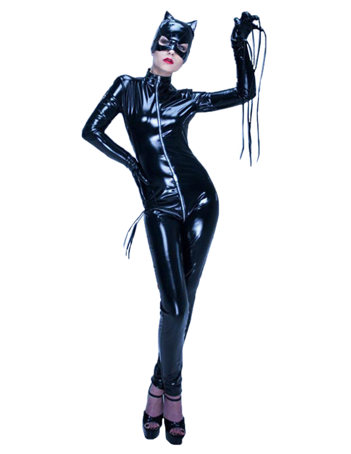 Womenu0027s Girl Catsuit Bodysuit Full Body One Piece Zip Up Front Catwoman Costume  sc 1 st  eBay & Womenu0027s Girl Catsuit Bodysuit Full Body One Piece Zip Up Front ...