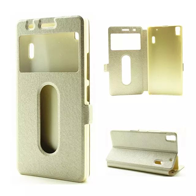Window View Silk PU Leather Flip Stand Phone Case Cover For Lenovo K3 note A7000 |