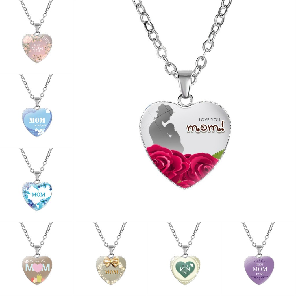 Details about MOM Heart Silver Charms Pendant Necklace for Girls Best  Birthday Gift Jewelry 476d09769