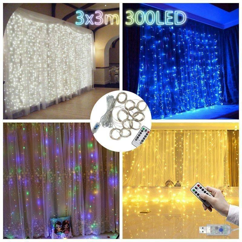 3mx3m 300 Led Curtain Fairy Lights