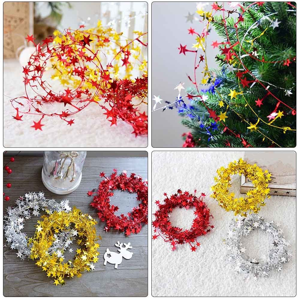 7.5m Mulicolor Hanging Star Pine Garland Wreath Xmas Tree Party House Ornament
