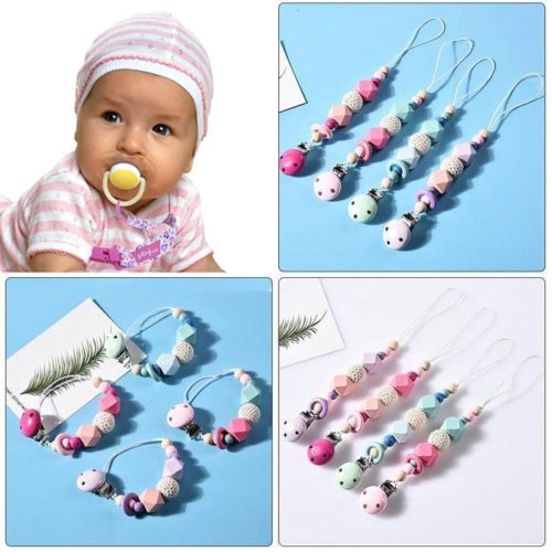 Wooden Soother Silicone Holder Cute For Baby Chew Pacifier Clip Teething Dummy #