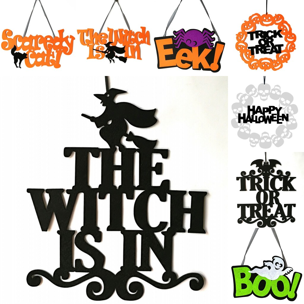 Halloween Sign The Witch Is In Non-Woven Holiday Party Hanging Door Wall Decor