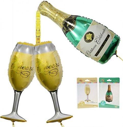 Giant Champagne Bottle Glass Foil Balloons HAPPY BIRTHDAY FOIL BALOON UK SELLER