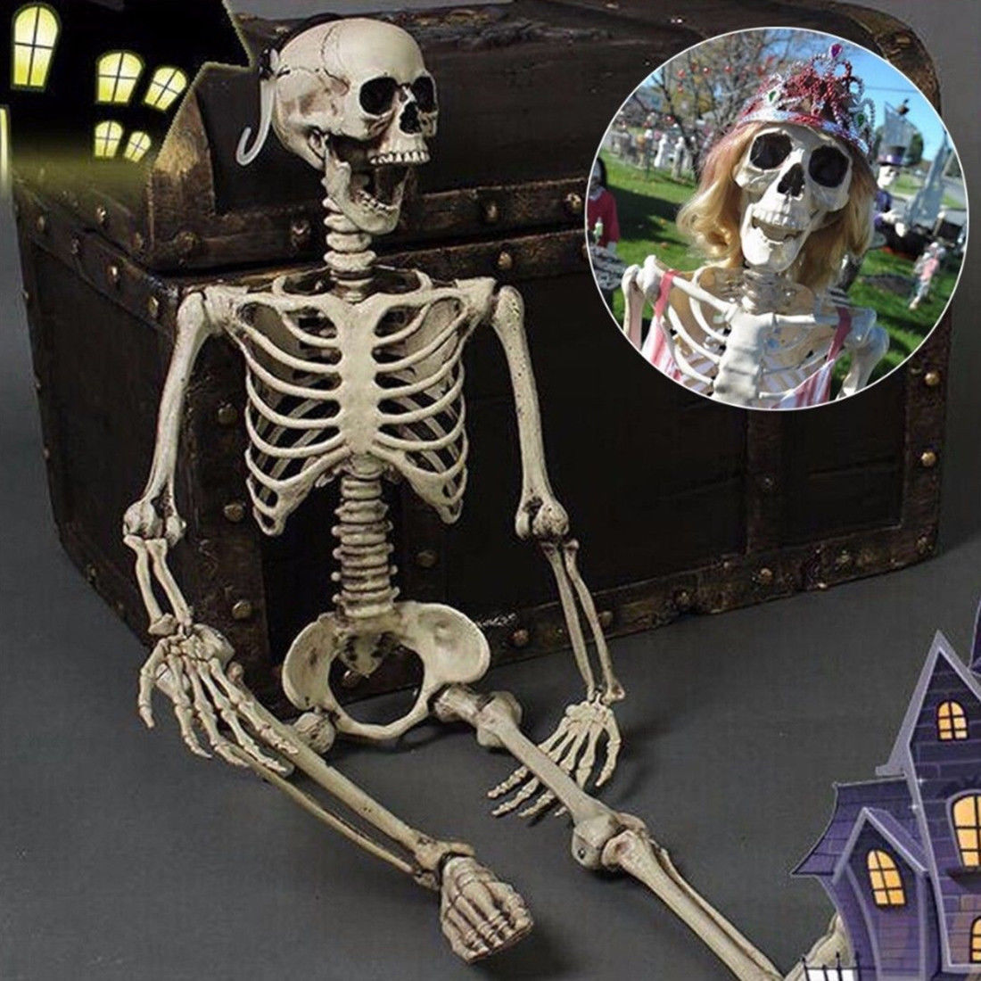 Details About Realistic Skeleton Haunted Home Decor Scary Skull Men Bone Creepy Prop 3ft Tall