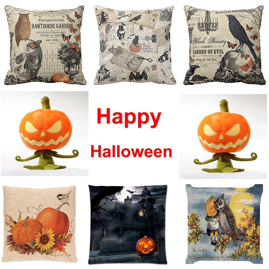 "18""x18"" halloween pillow case linen sofa bedroom office cushion"