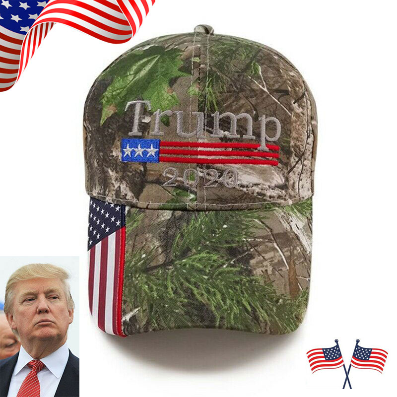 Donald Trump 2020 Camo Embroidered Unisex Hat Cotton Blend American Flag Cap aa