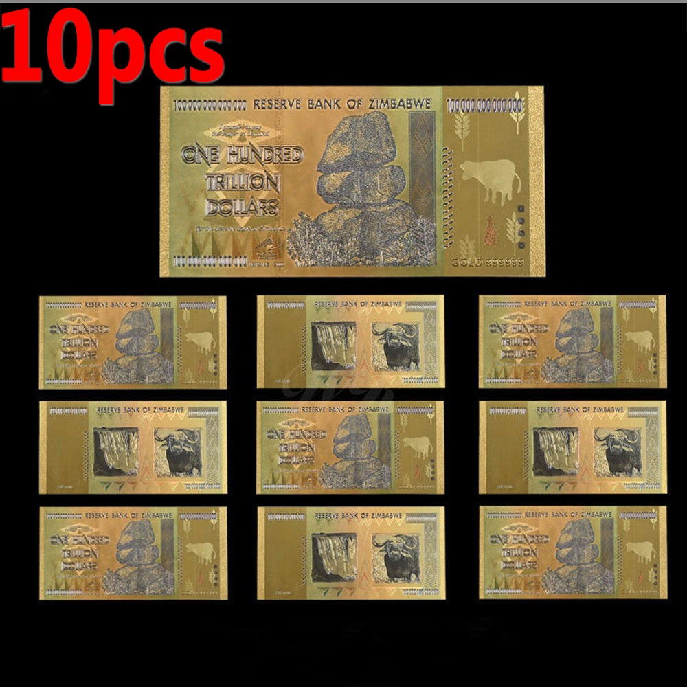 Details About New 10ps Zimbabwe 100 Trillion Dollars Banknotes Color Gold Bill W Certificate