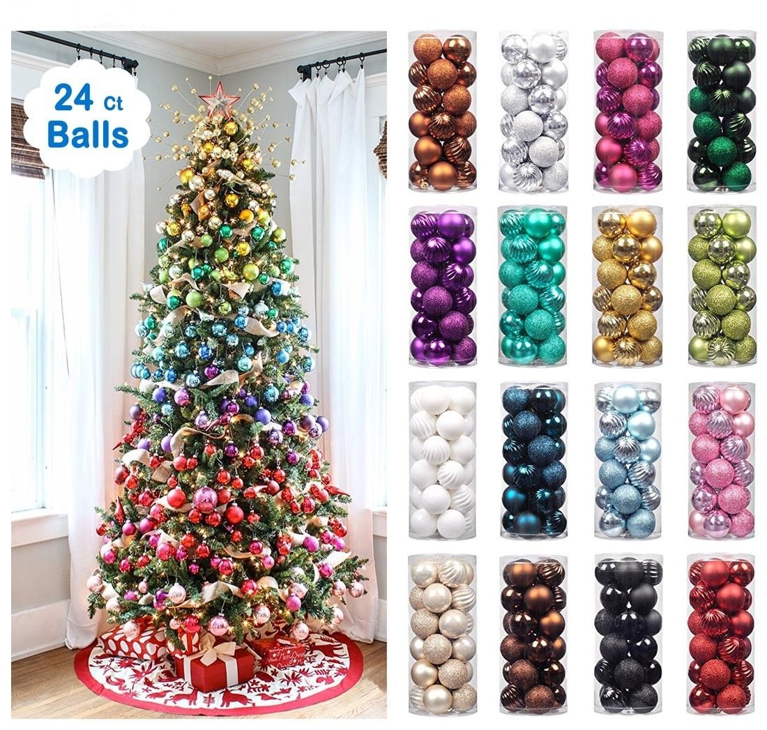 Christmas Baubles.Details About 24x Glitter Christmas Baubles Xmas Tree Ornament Hanging Balls Christmas Decor