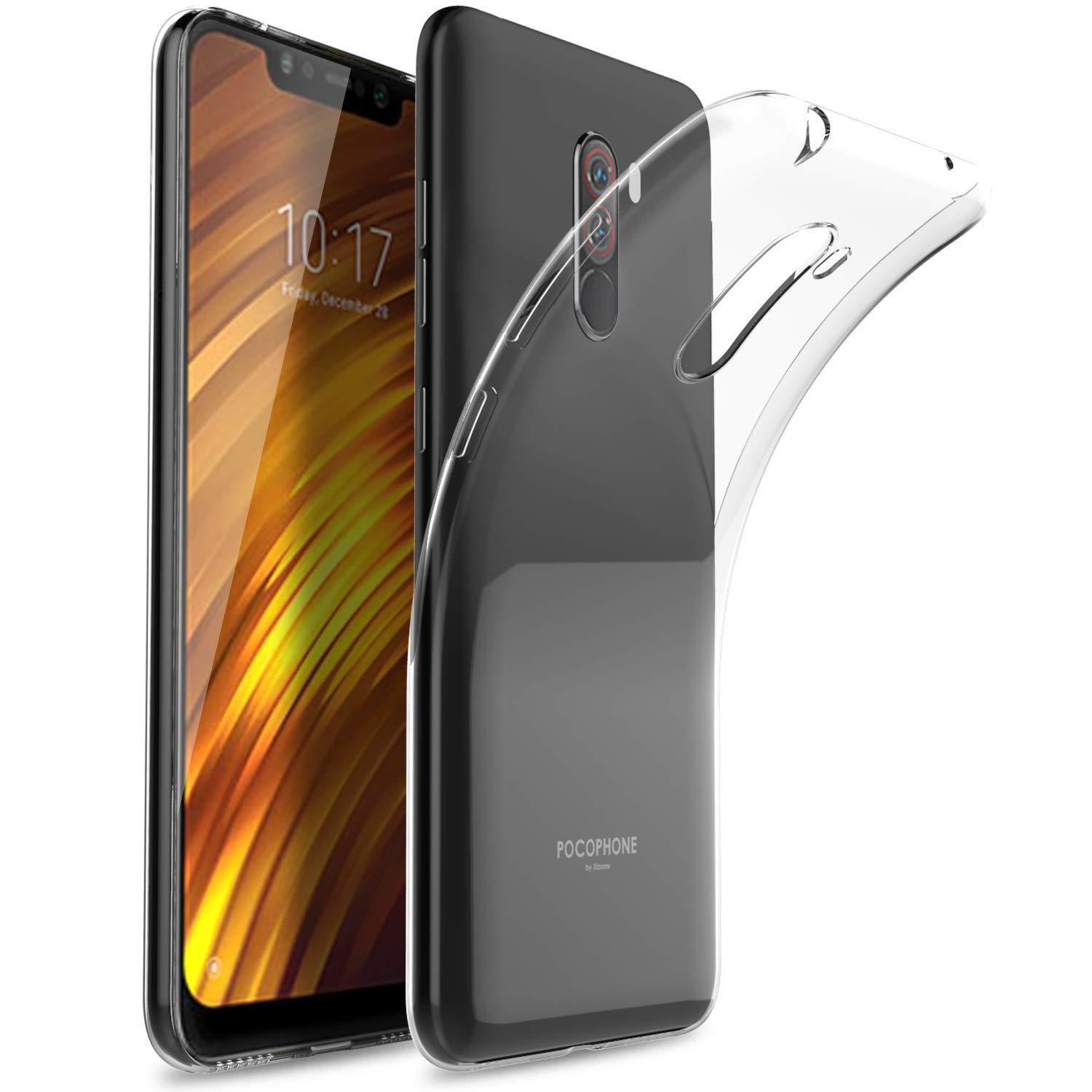 Slim Silicone Case Cover Tempered Glass Screen Protector For Xiaomi Full Pocophone F1