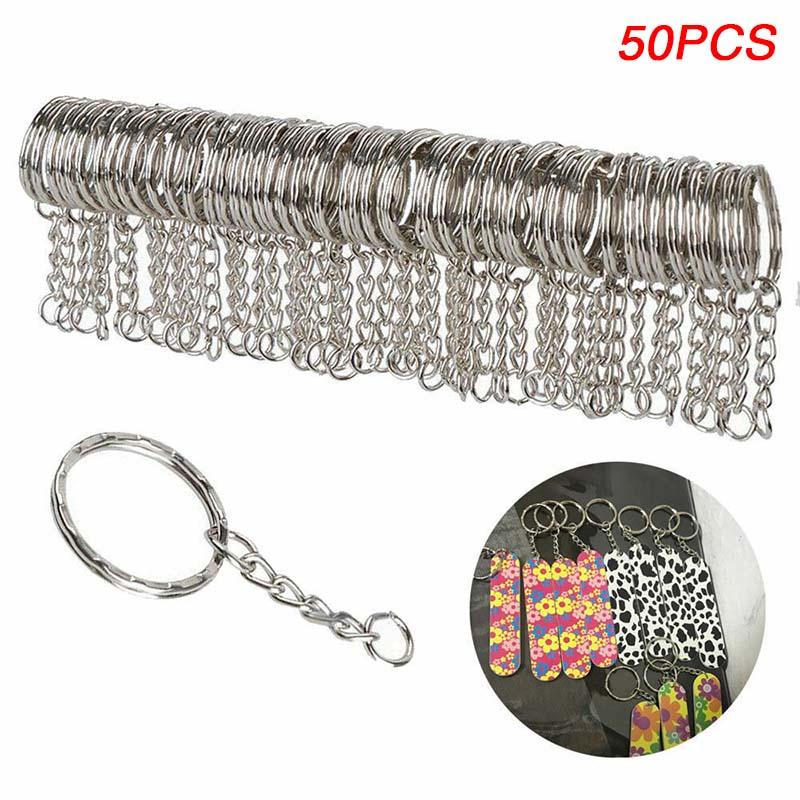 Lots DIY 25mm Polished Silver Keyring Keychain Split Ring Short Chain Key Rings