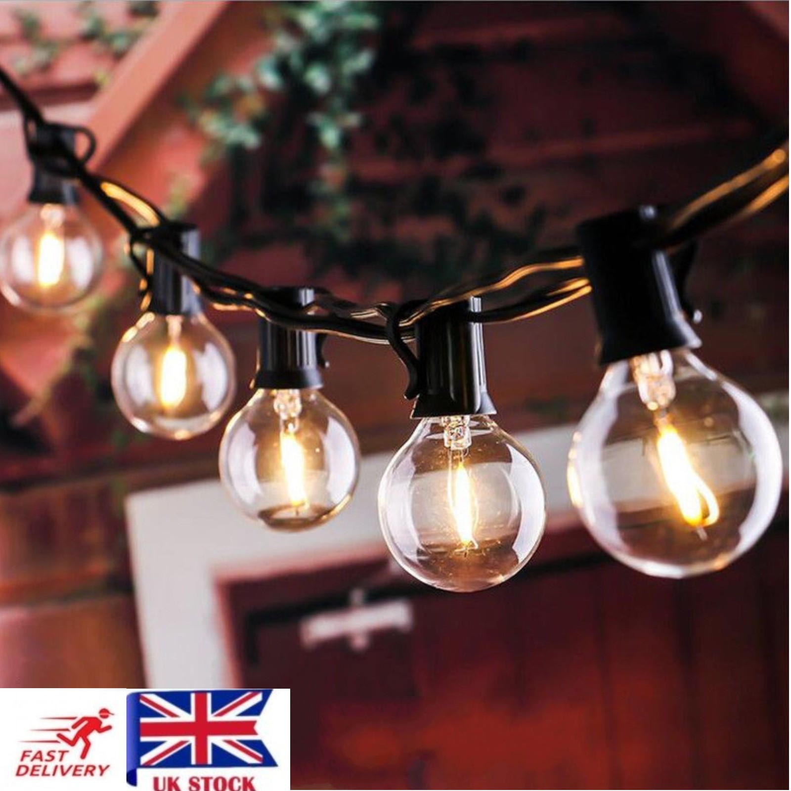 Details About 50ft Weatherproof Globe String Festoon Lights 50 Clear Bulbs G40 Indoor Outdoor