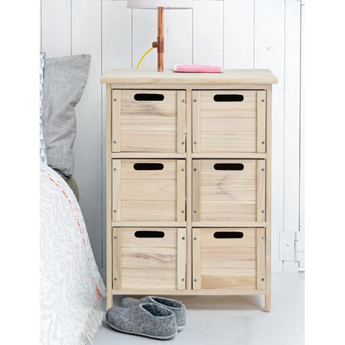 Armoire Gain De Place détails sur commode cabinet rangement armoire 6 tiroirs bois massif naturel  gain de place