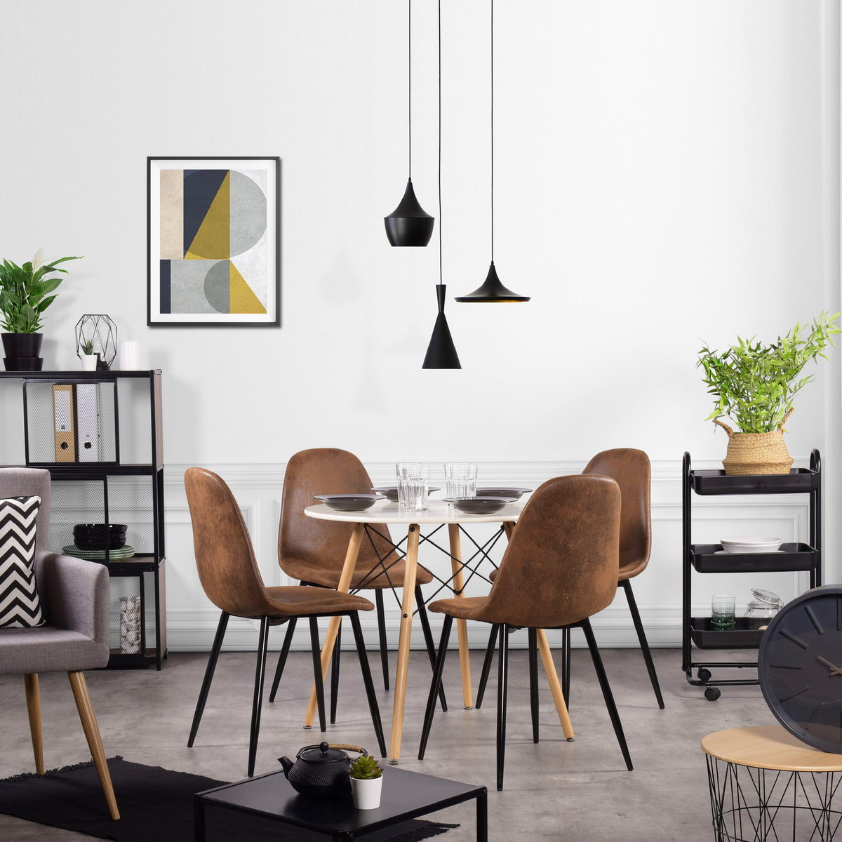 Details about 4PCS Scandinavian Style Retro Suede Material Brown Living  Room Dining Chairs