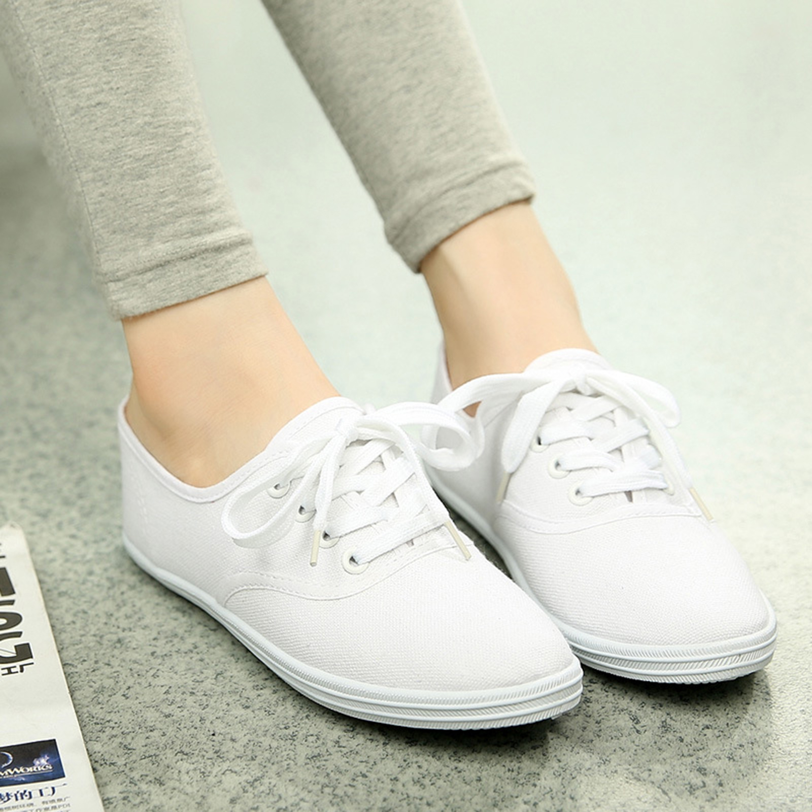 Women Ladies New Comfortable Canvas Lace Up Casual Sneakers Tennis Flats Shoes