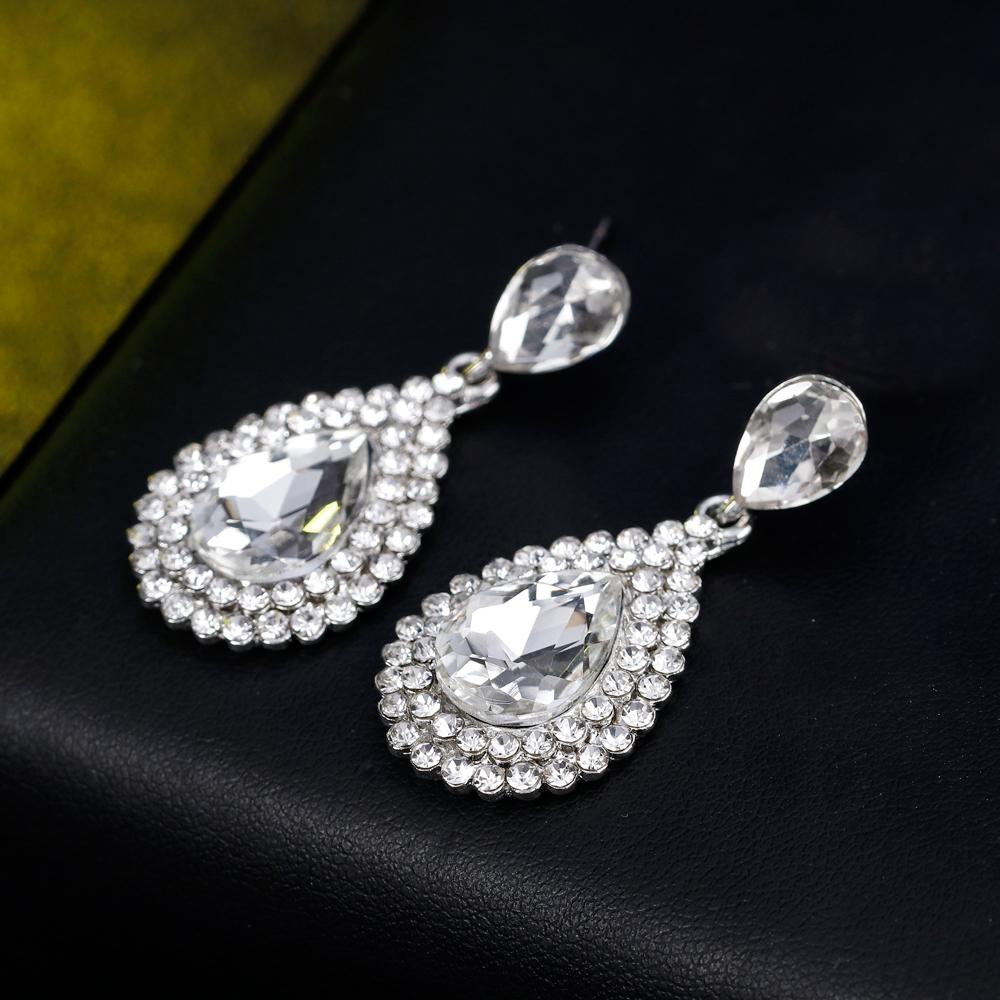 ae445ae5e76d87 Diamante Silver Crystal Long Hanging Dangle Drop Earrings Women Wedding  Jewelry