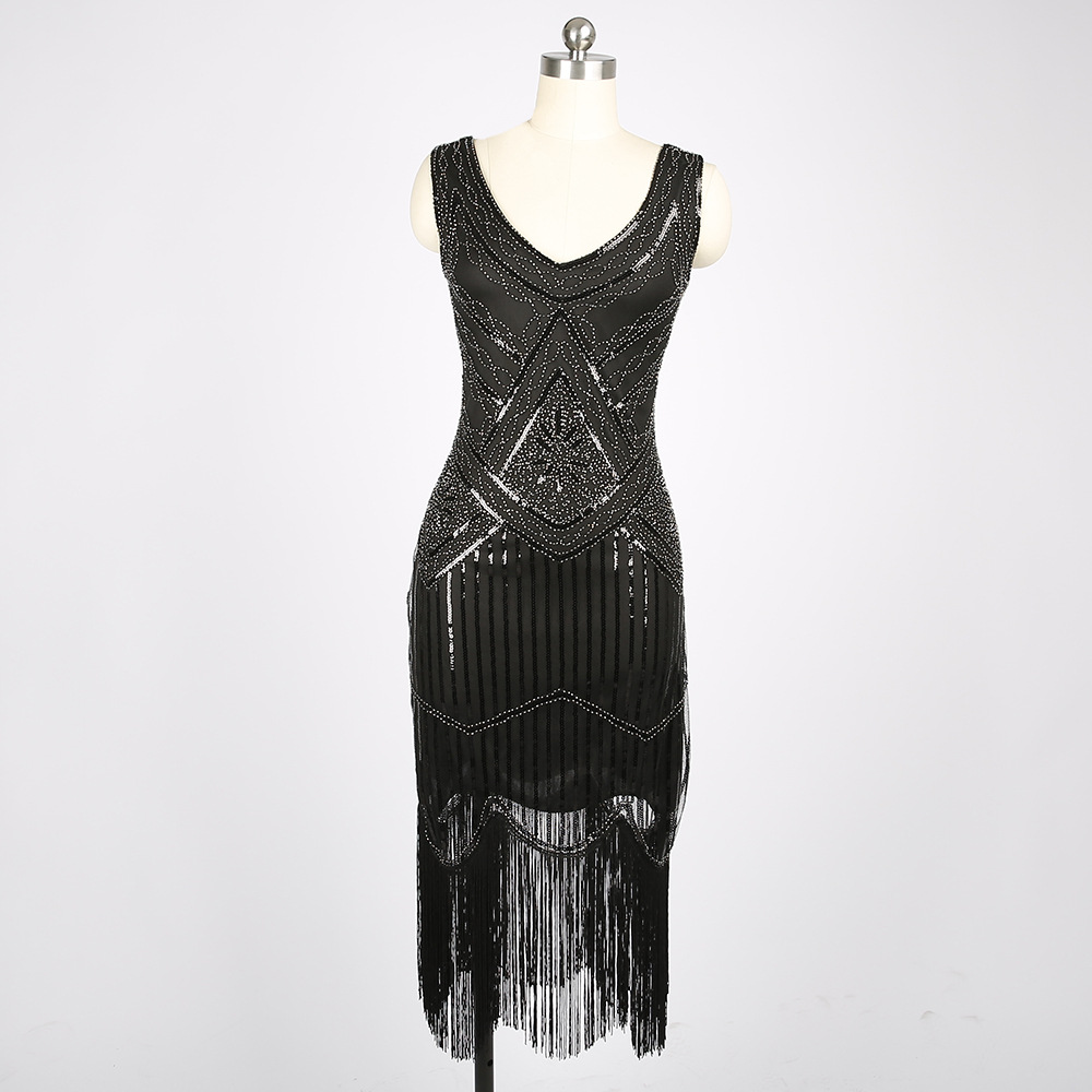 Details about 1920s Flapper Dress Clubwear Party Gatsby Fringed Package Hip  Plus Size Dress