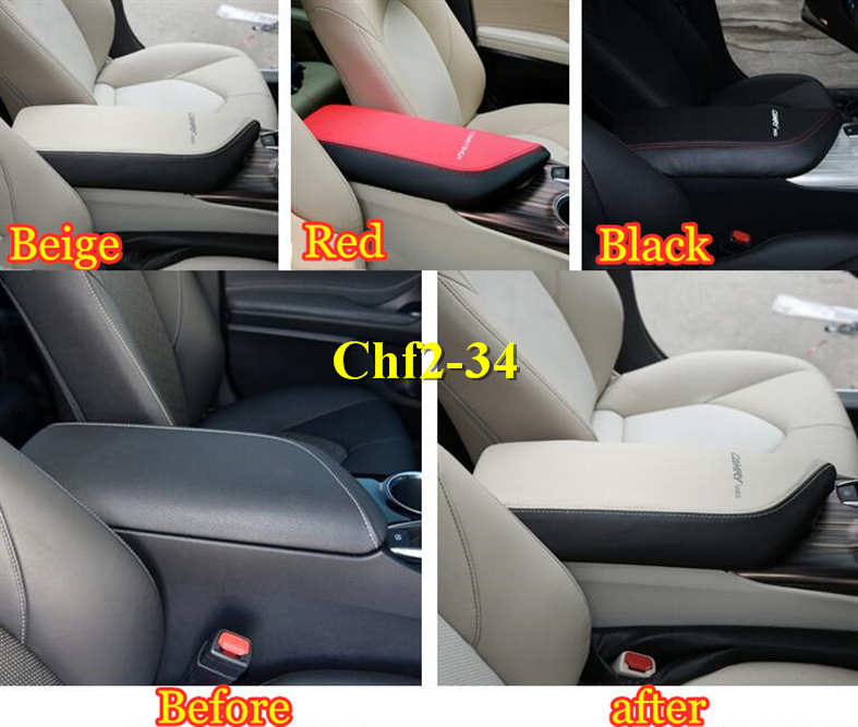 For Toyota Camry 2018 Black Leather Top Center Armrest Surface Case Cover Trim