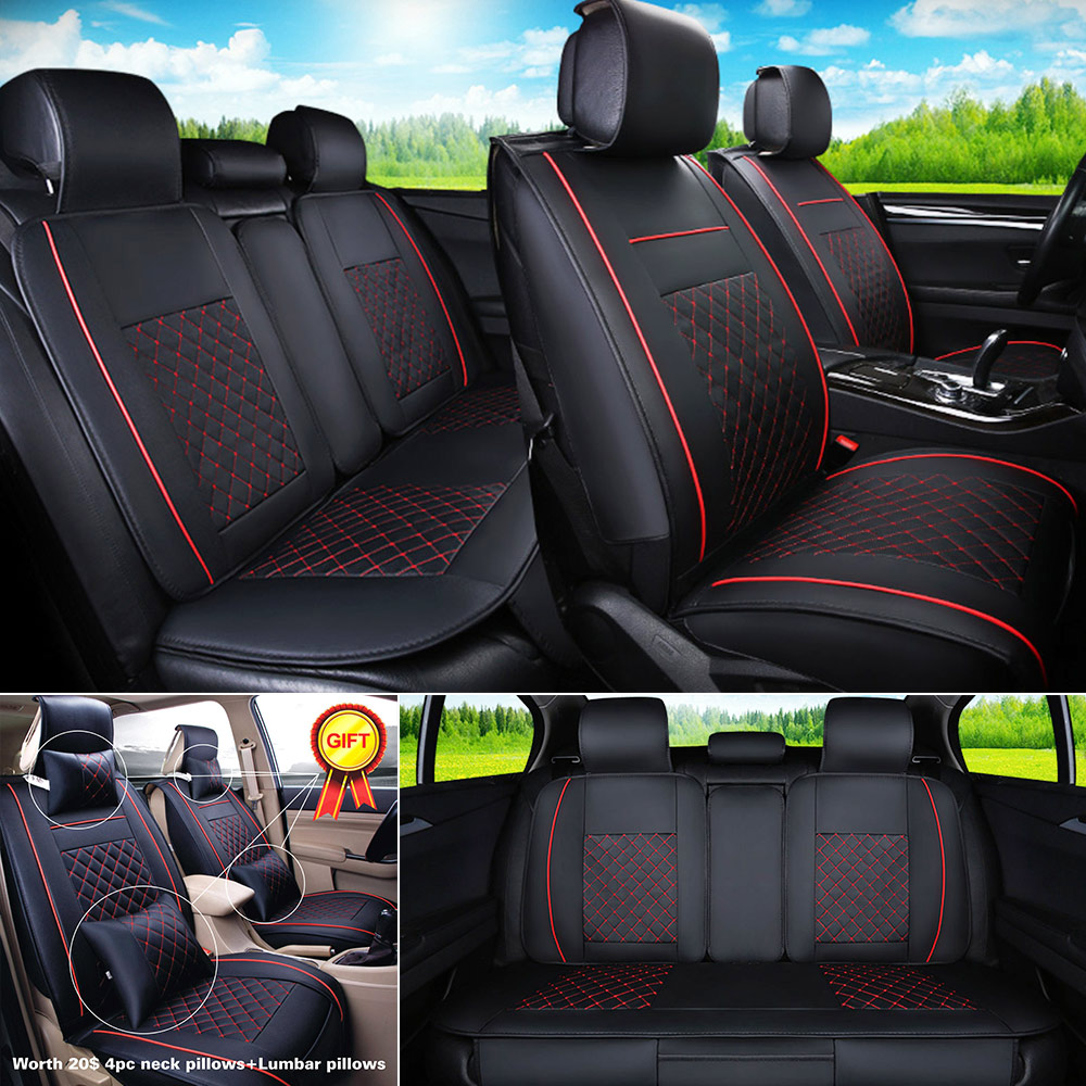 PU Leather Black Red Seat Cover Car 5 Seats Sedan SUV Front Rear Set Durable