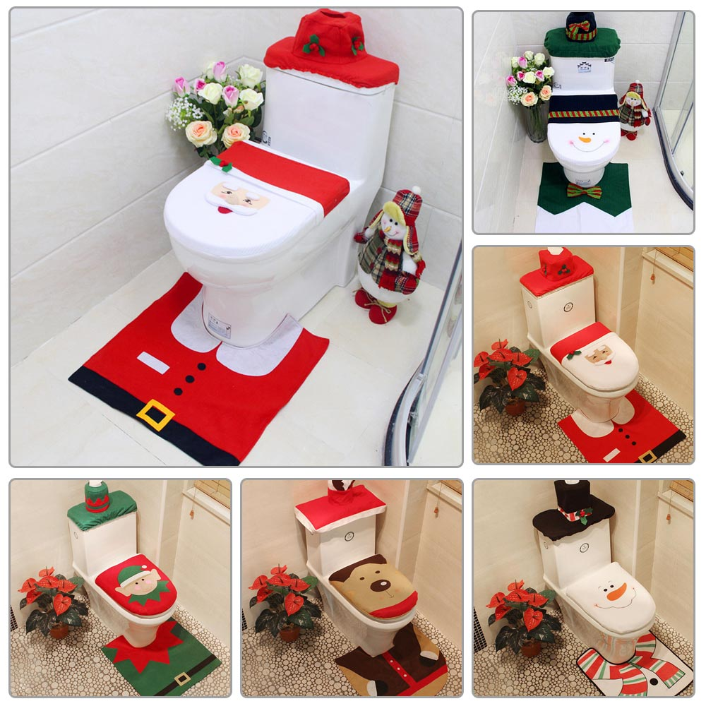 Remarkable Details About Christmas Toilet Seat Cover Set Santa Claus Bath Rug Towel Mat Xmas Decorations Gmtry Best Dining Table And Chair Ideas Images Gmtryco