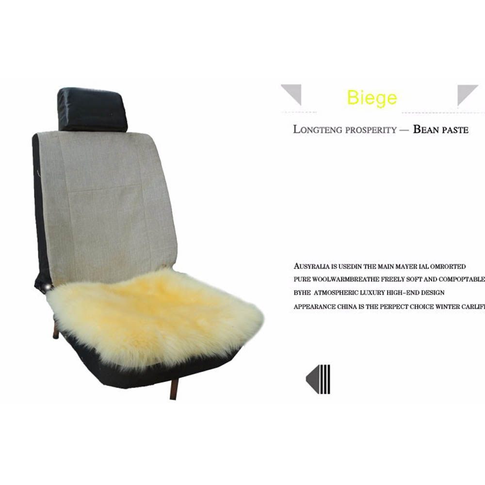 Beige Car Seat Covers Genuine Sheepskin Chair Cushion Seat Long Wool  Breathable