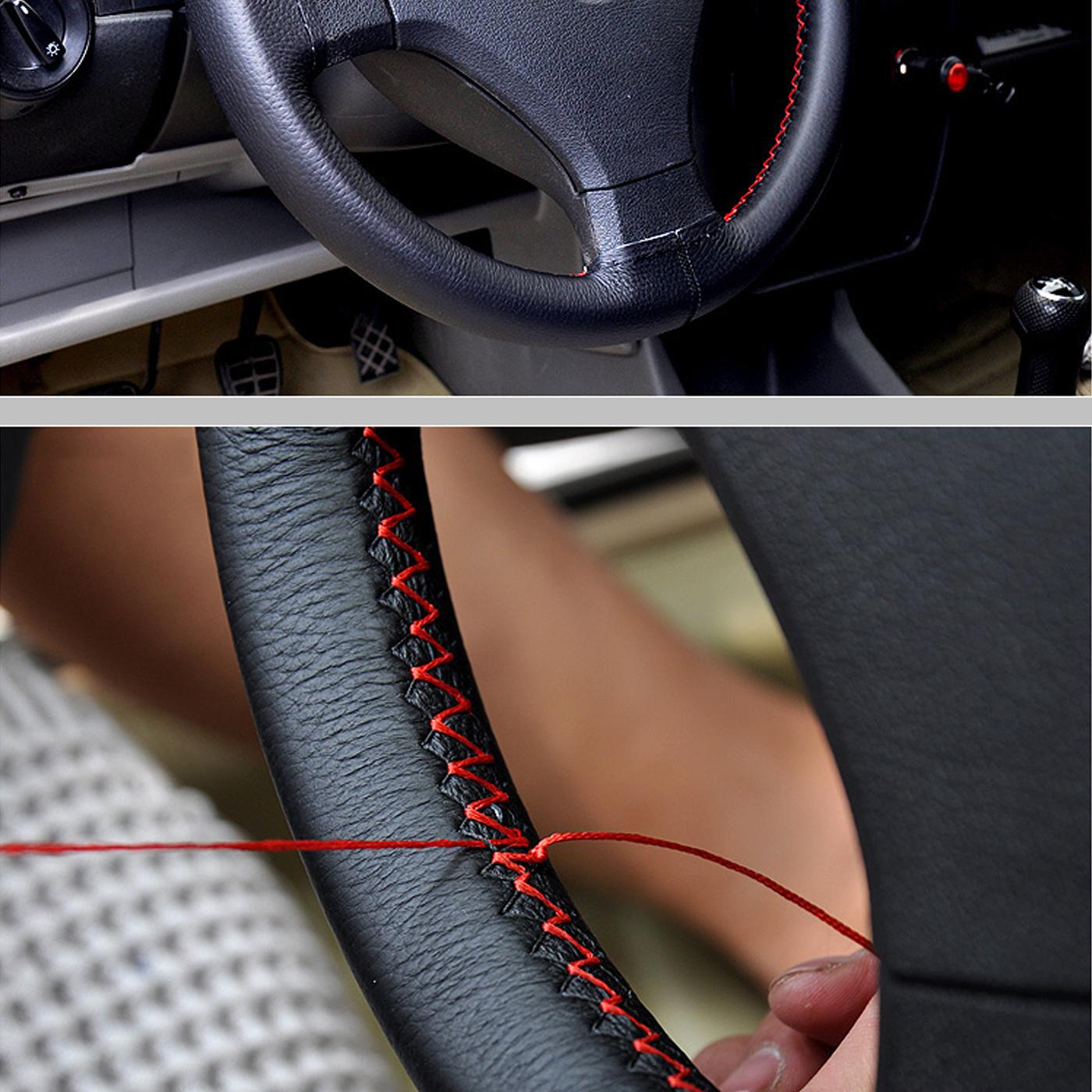Auto Lenkrad Abdeckung DIY Echtleder mit Nadeln Thread Car-Styling innen Zubeh/ör Schwarz