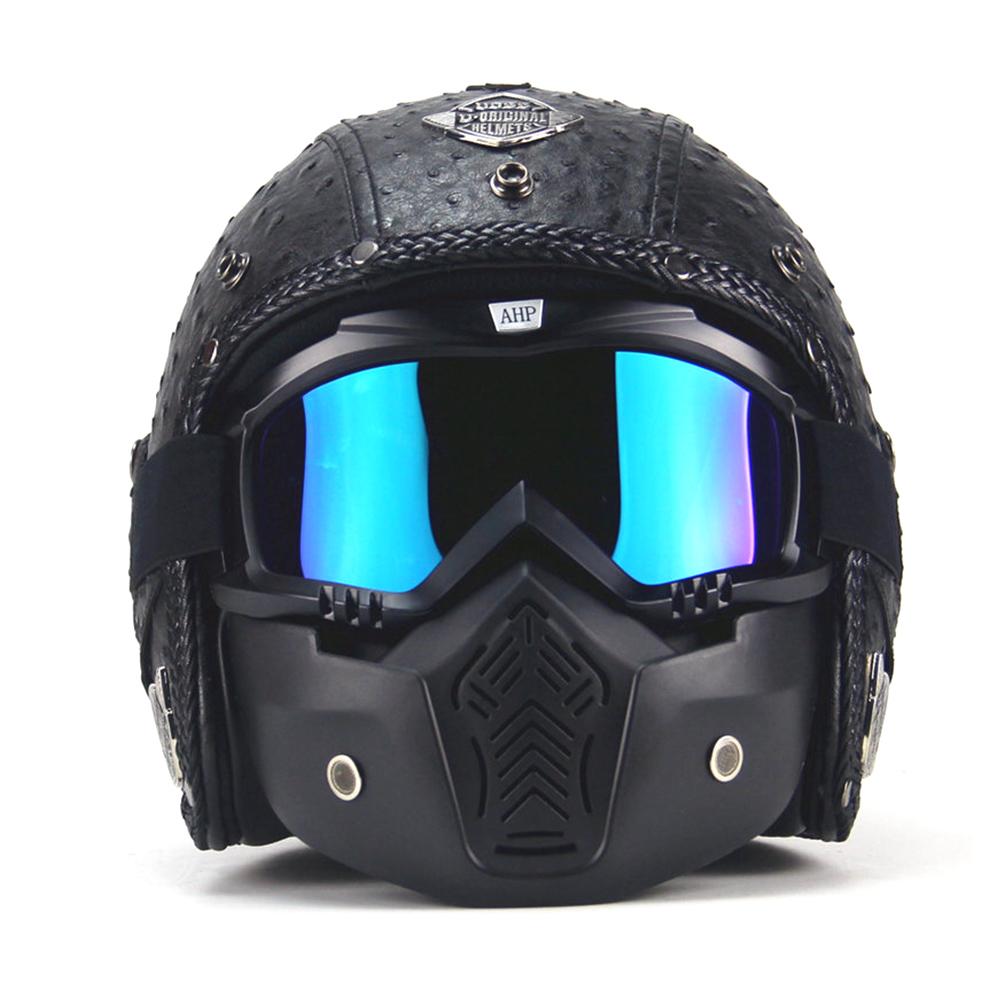 Motorcycle-Helmets-3-4-Open-Chopper-Bike-Helmet-PU-Leather-Face-Mask-For-Harley